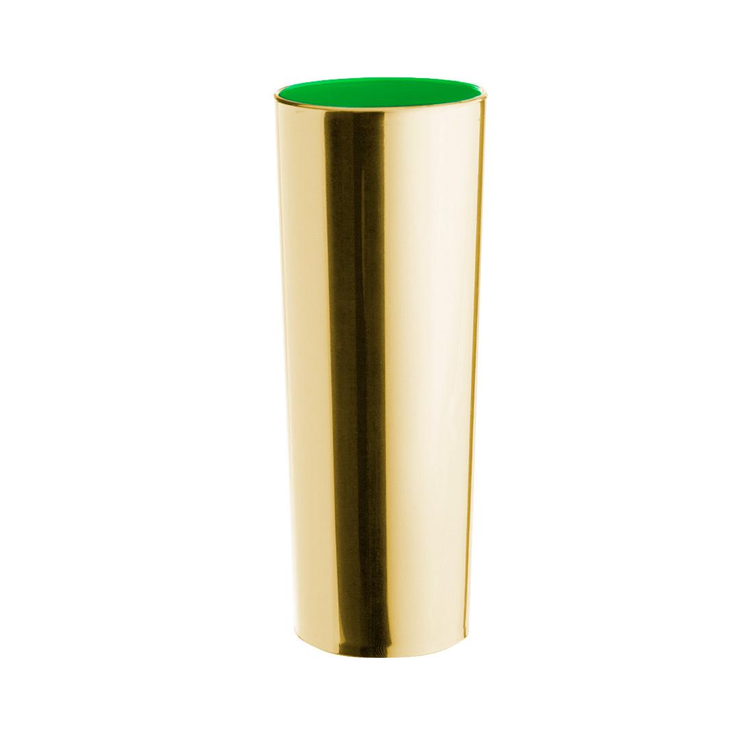 Copo Long Drink Metalizado - Dourado Interior Verde