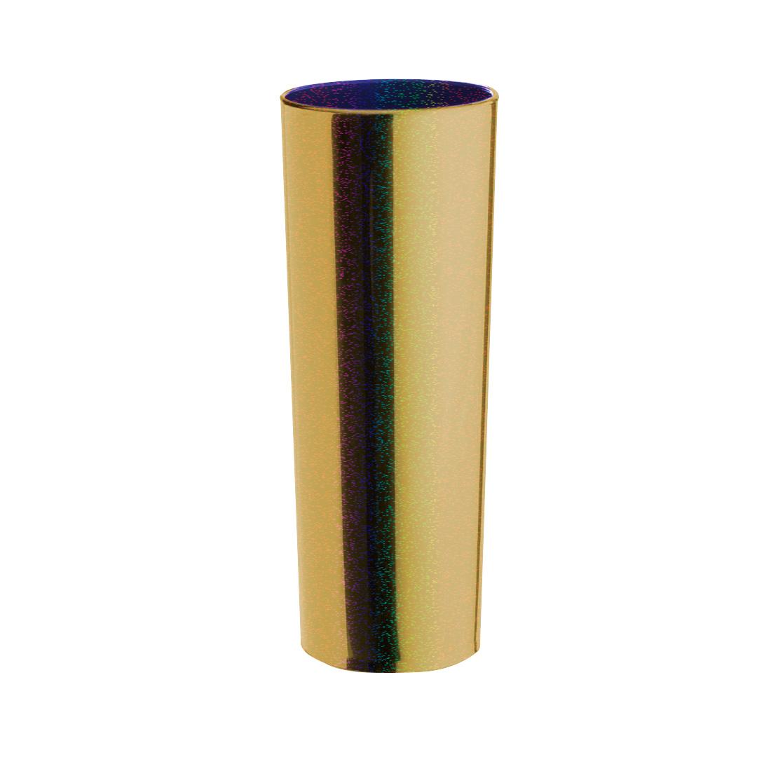 Copo Long Drink Metalizado Glitter  - Dourado Interior Azul
