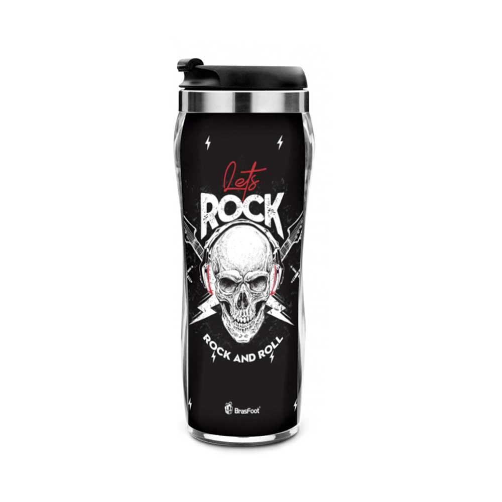 Copo Plástico Inox - Caveira Let s Rock 450ml