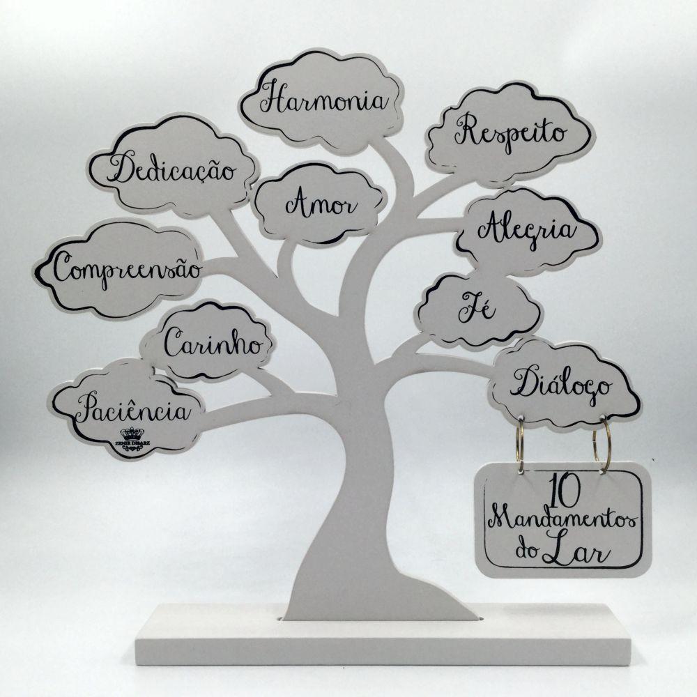 Enfeite Árvore 10 Mandamentos Do Lar Branco Especial