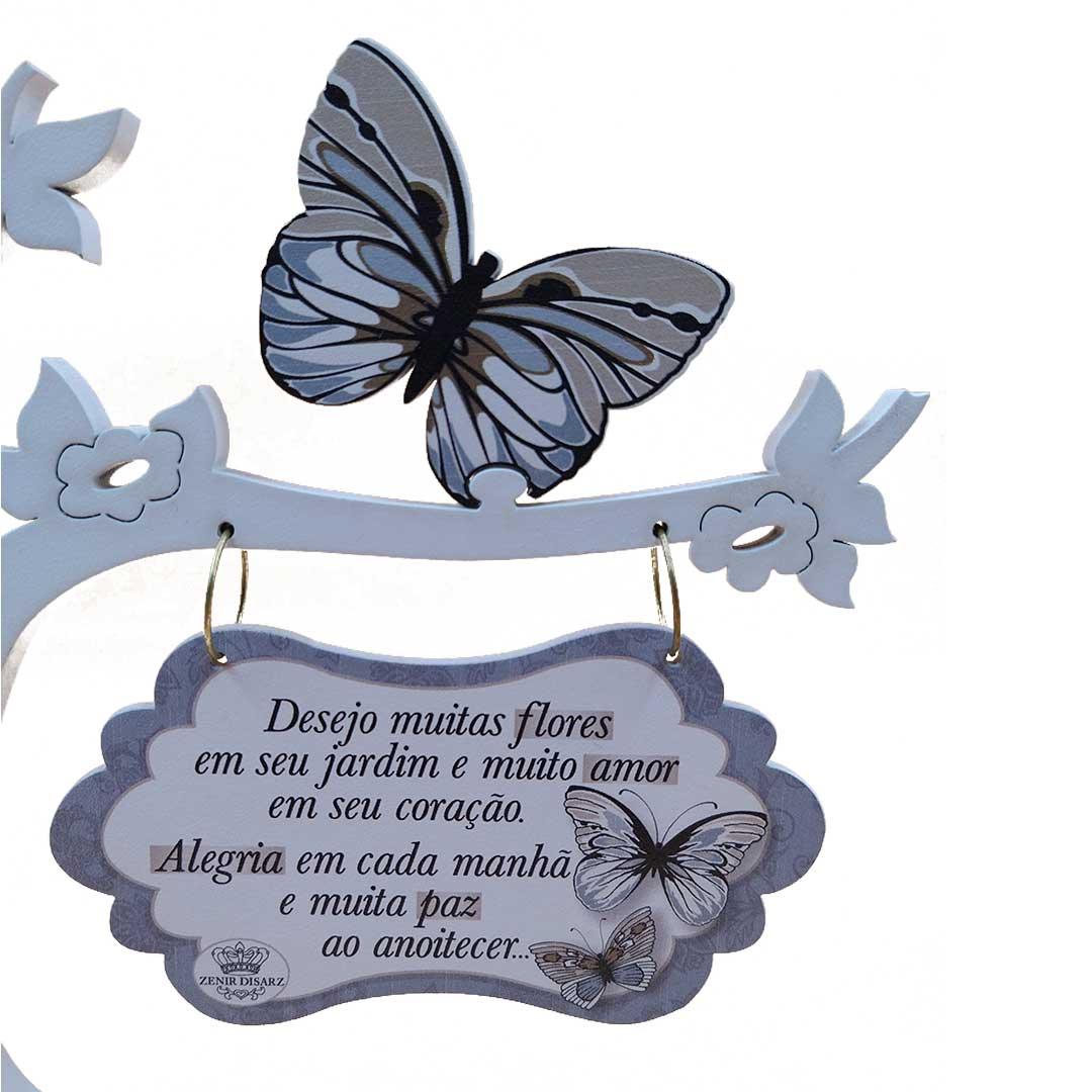 Enfeite Árvore Borboleta - Flores, Amor, Alegria e Paz
