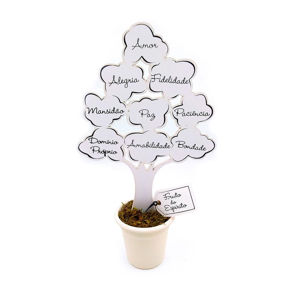 Enfeite Árvore Branca com Baldinho - Fruto do Espírito