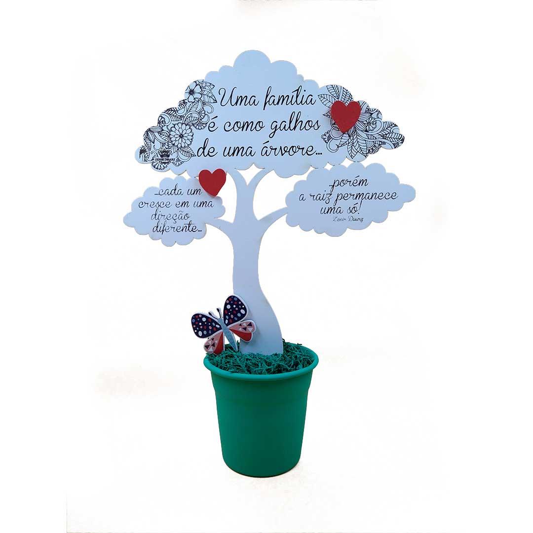 Enfeite Árvore com Balde - Uma Família é como galhos Verde