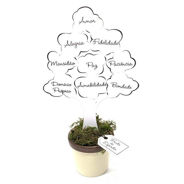 Enfeite Árvore com Baldinho - Fruto do Espírito Branca