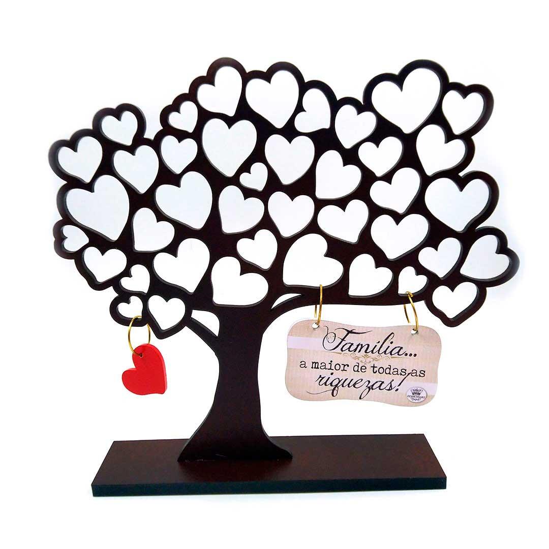 Enfeite Árvore com Corações - Família