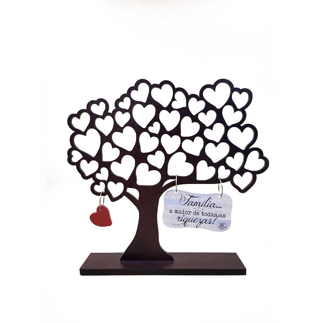 Enfeite Árvore com Corações Família