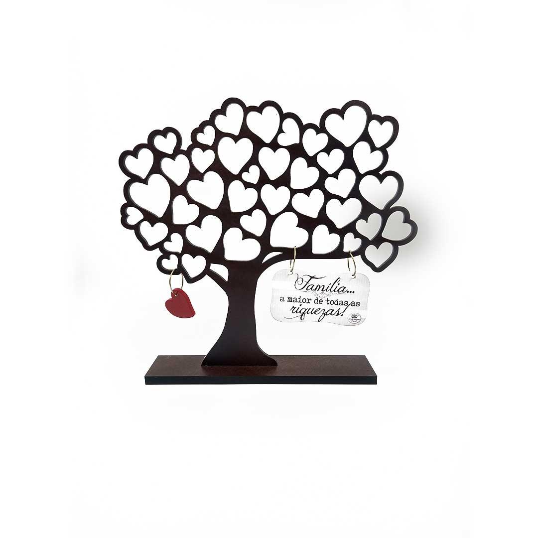 Enfeite de Mesa - Árvore com Corações Família