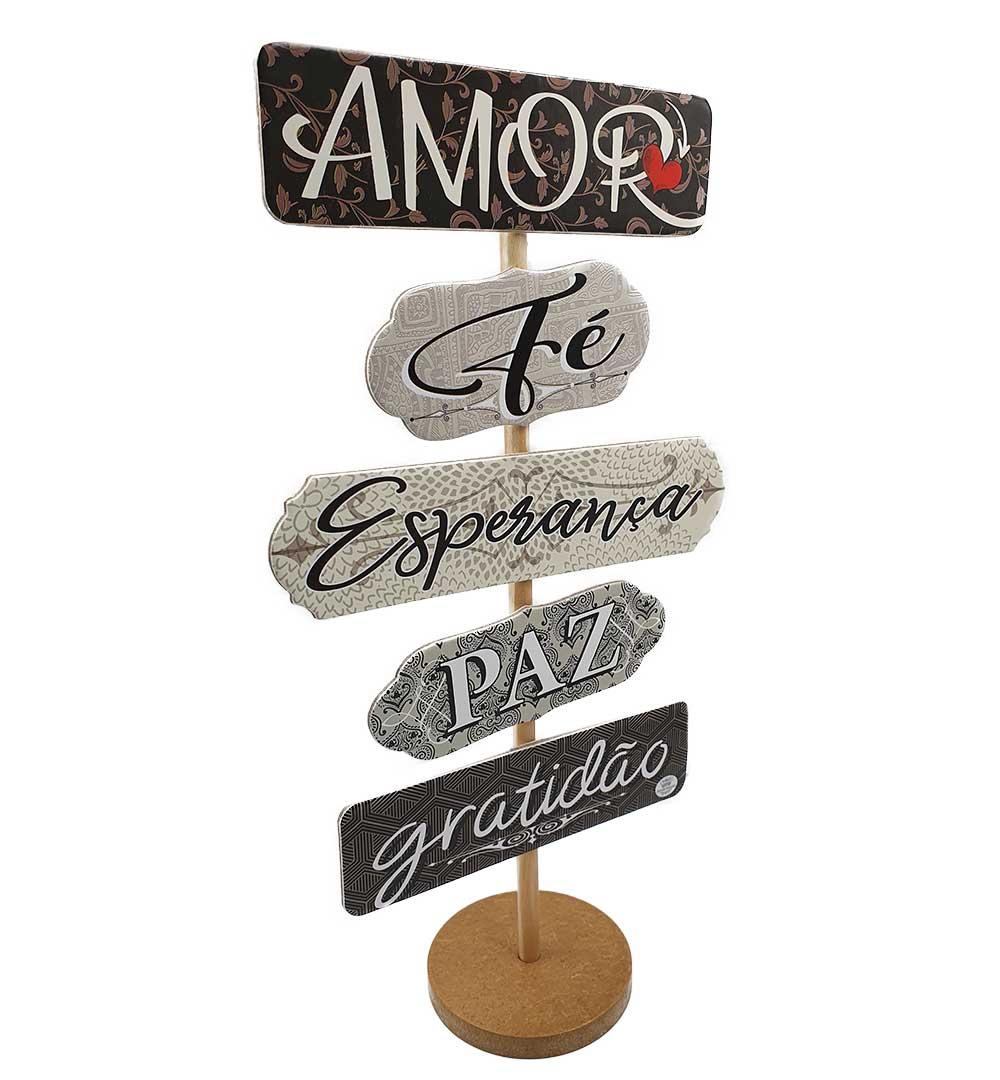 Enfeite de Mesa Com Plaquinha Amor, Fé, Esperança, Paz, Gratidão