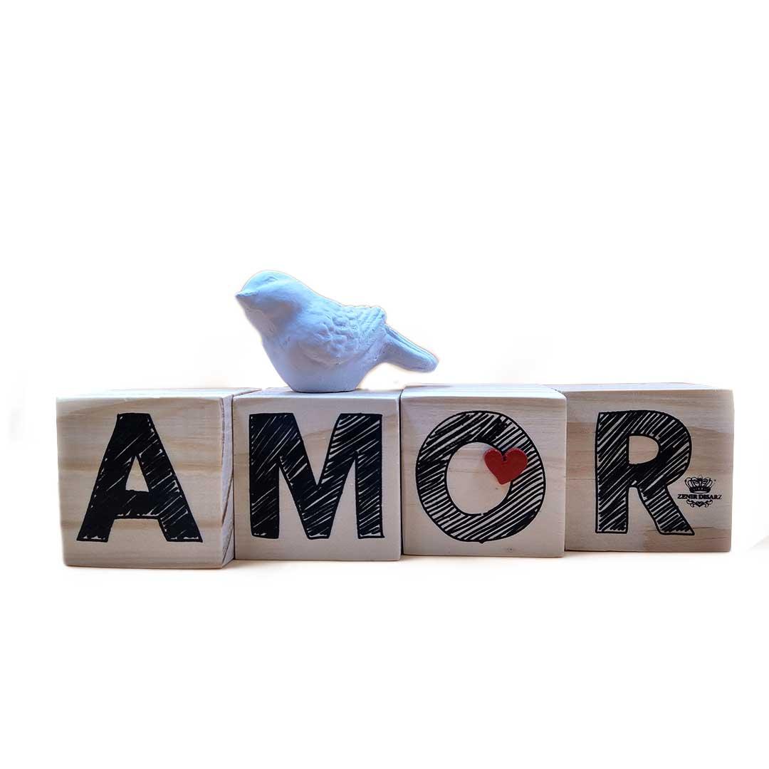 Enfeite de Mesa Cubos - Amor