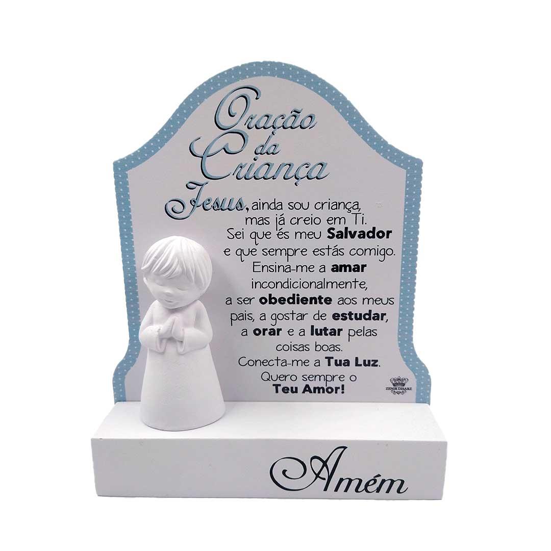 Enfeite de Mesa Azul - Oração da Criança