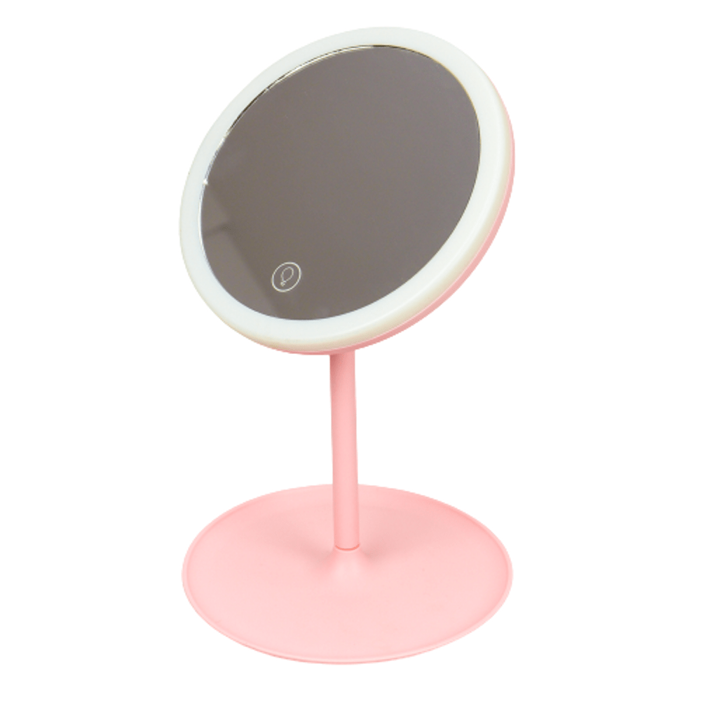 Espelho de Maquiagem - Led e Touch Rosa