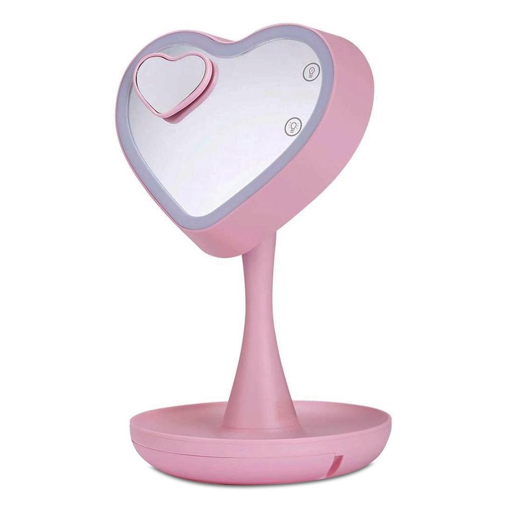 Espelho Led - Coração Rosa