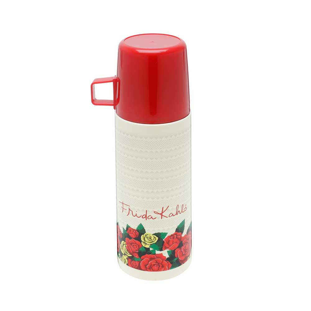 Garrafa Térmica de Inox c/Tampa de Plástico - Frida Kahlo |  Bege e Vermelha - 350ml