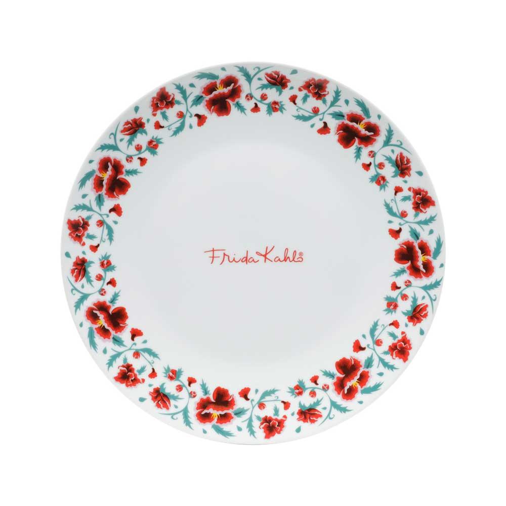 Jogo de 2 Pratos Jantar - Frida Kahlo Floral Branco