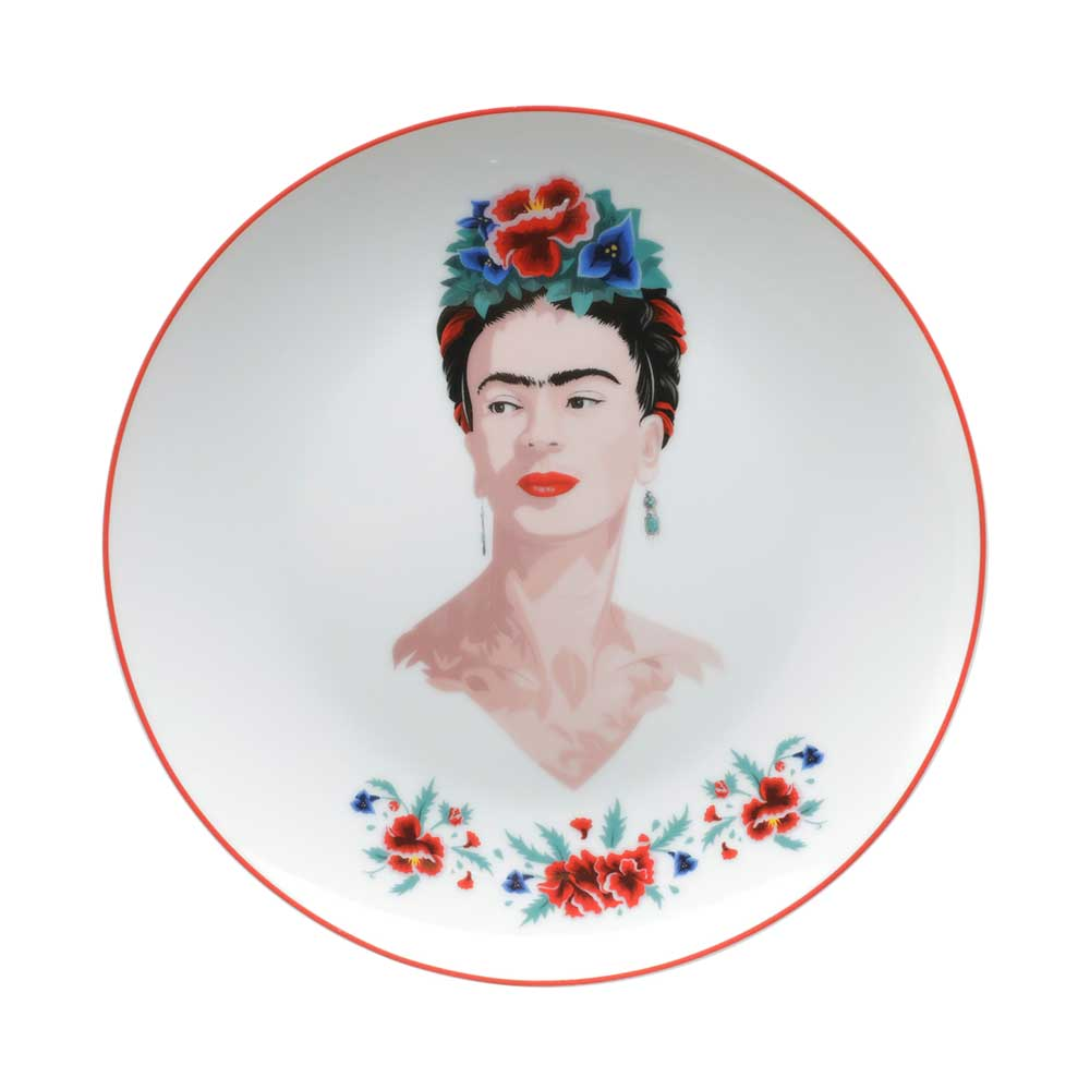 Jogo de Pratos Porcelana Sobremesa- Frida Kahlo | Floral Branco