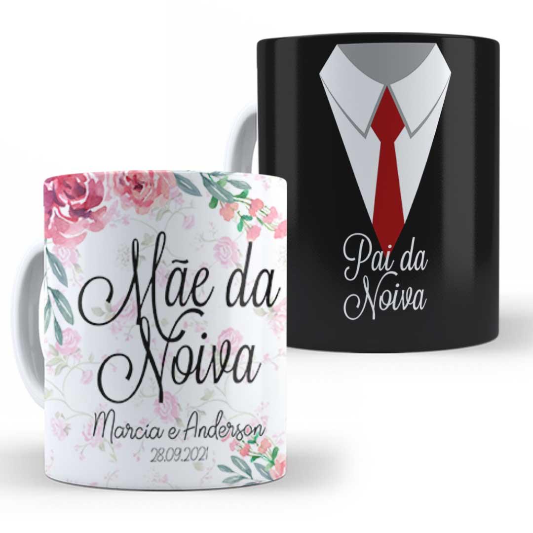 Kit Caneca Porcelana com Nome - Pais da Noiva