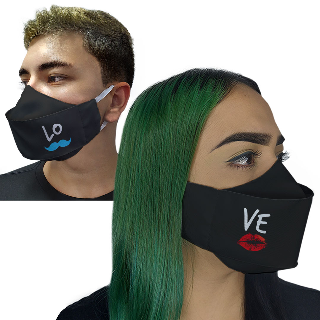 Kit Máscaras 3D - Casal Love