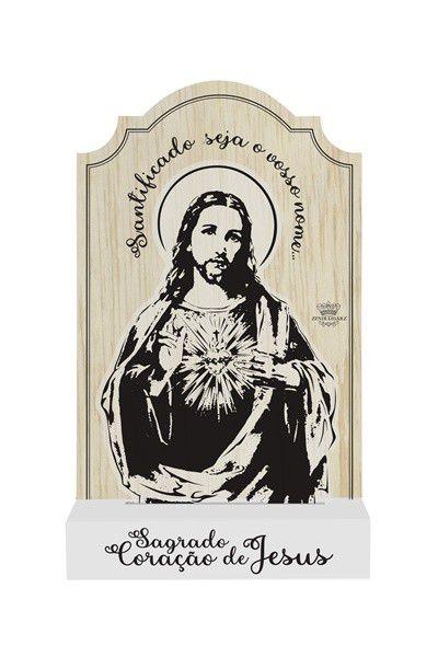 Madeirinha Com Acrílico Sagrado Coração De Jesus