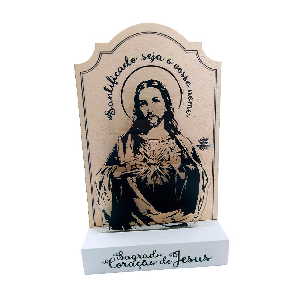 Madeirinha com Acrílico - Sagrado Coração de Jesus