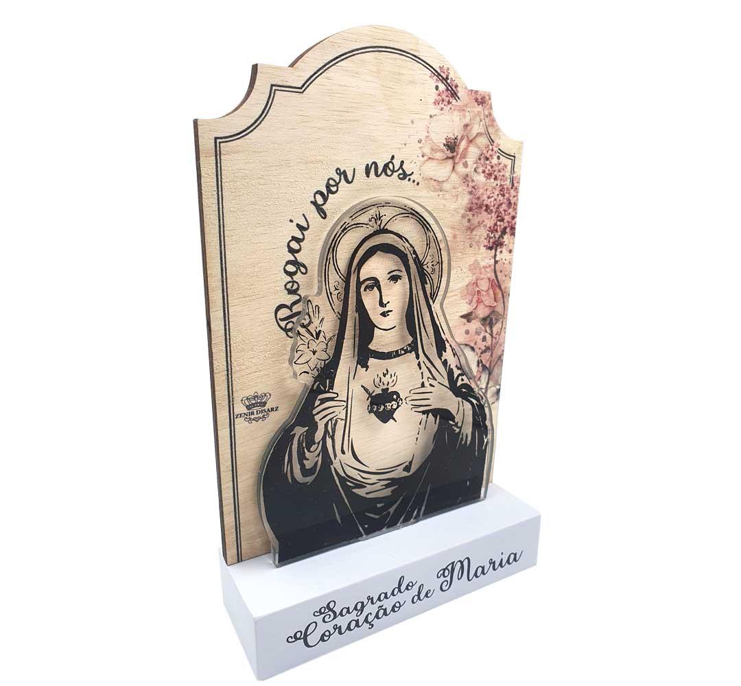 Madeirinha com Acrílico - Sagrado Coração de Maria