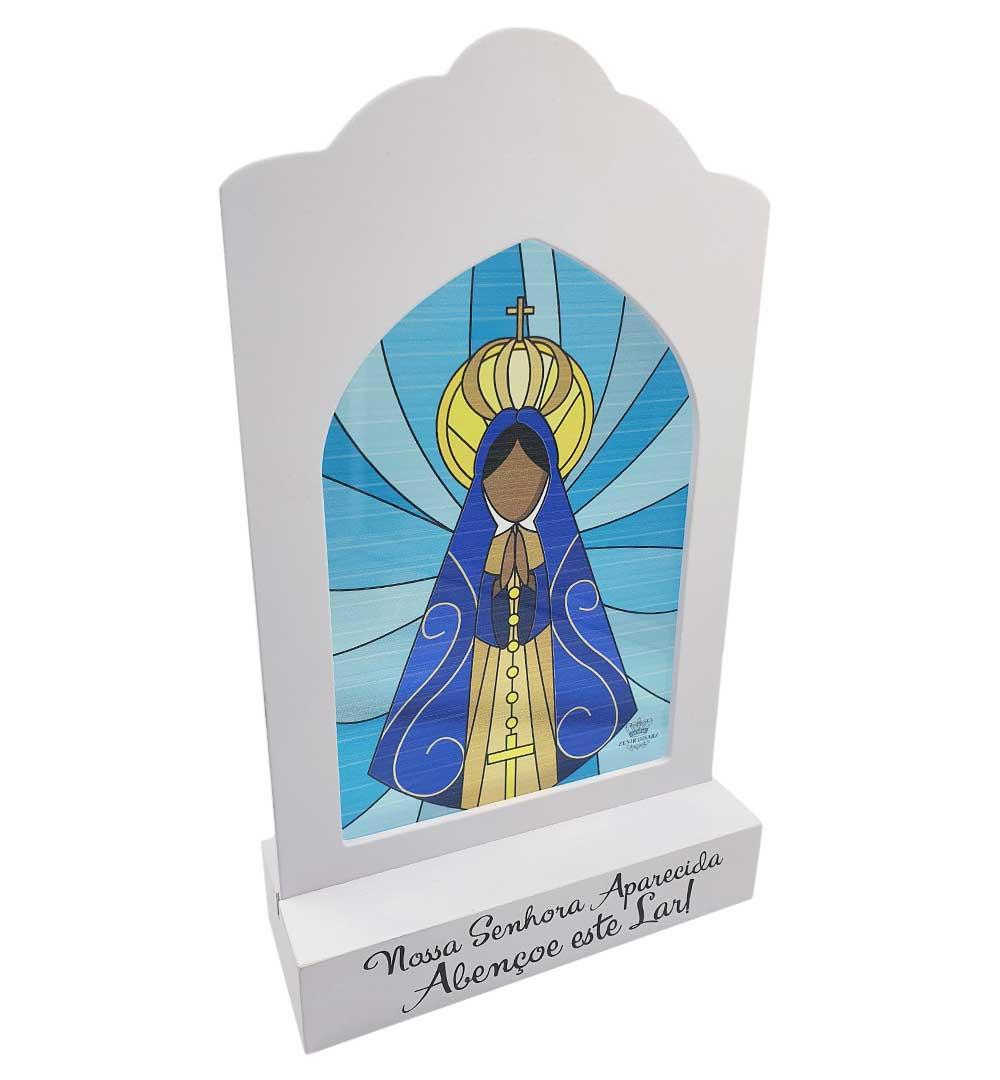 Madeirinha Com Vitral Nossa Senhora Aparecida