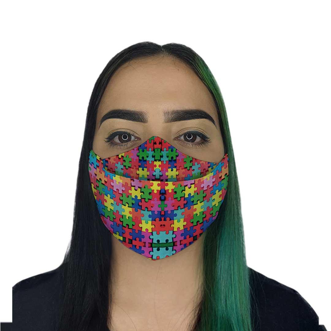 Máscara 3D - Autismo Colorida