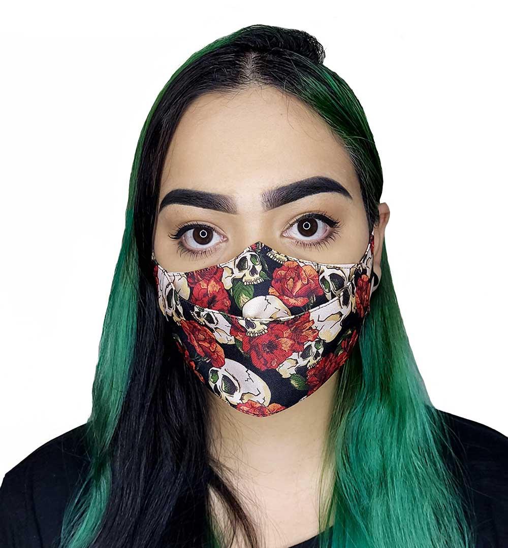 Máscara 3D Caveiras e Flores