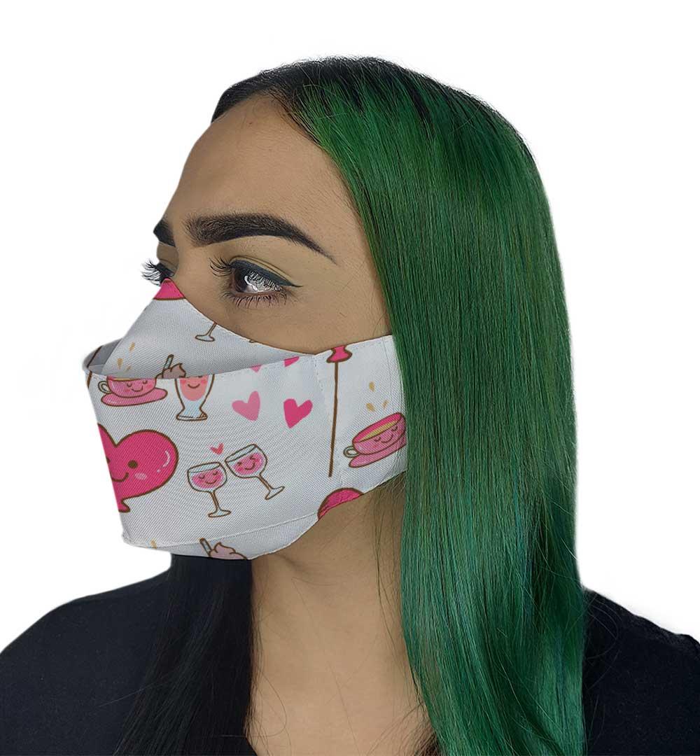 Máscara 3D - Coração Balão Rosa