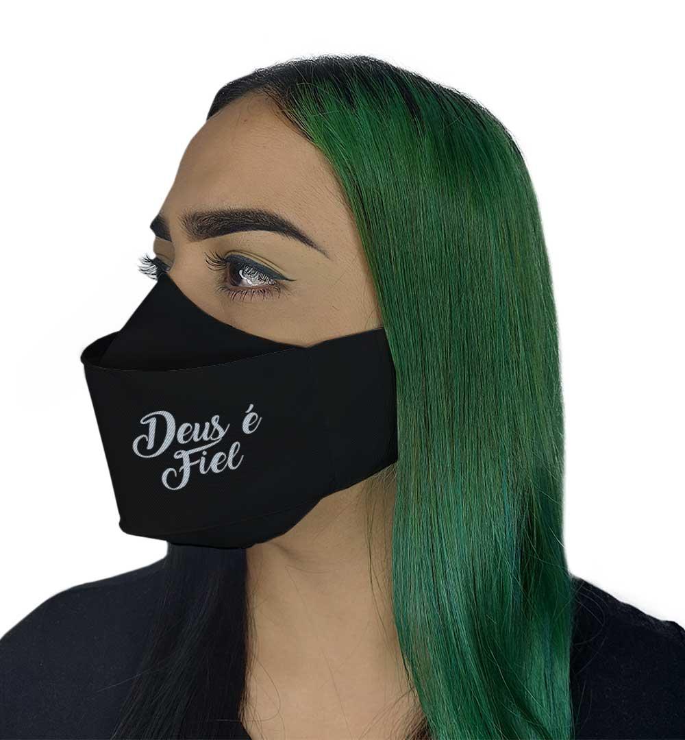 Máscara 3D - Deus é Fiel Preta