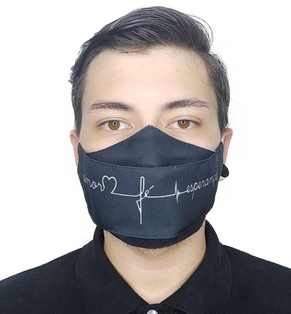 Máscara 3D Fé, Coração e Esperança
