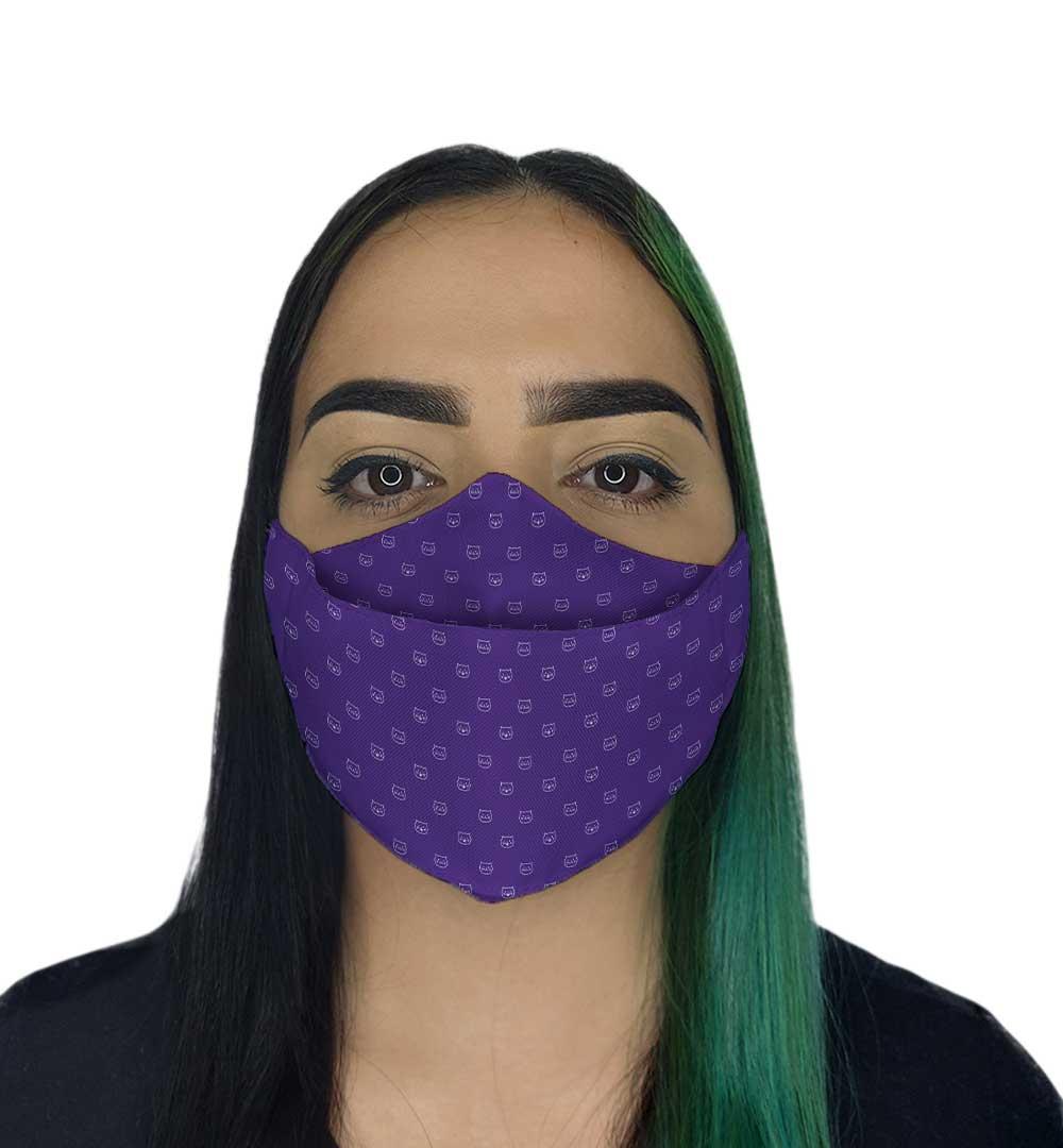 Máscara 3D - Gatinhos Roxa