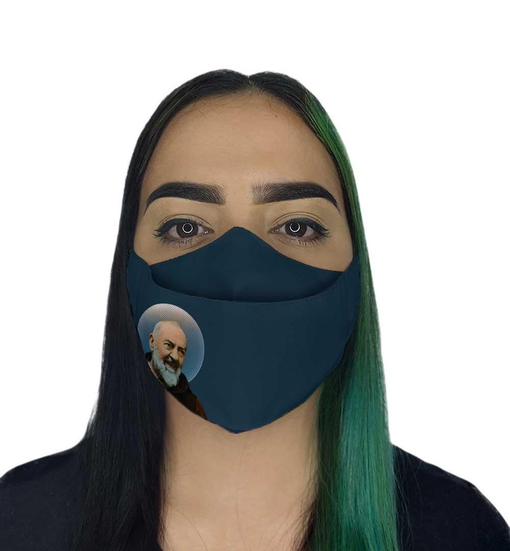 Máscara 3D - São Padre Pio Azul