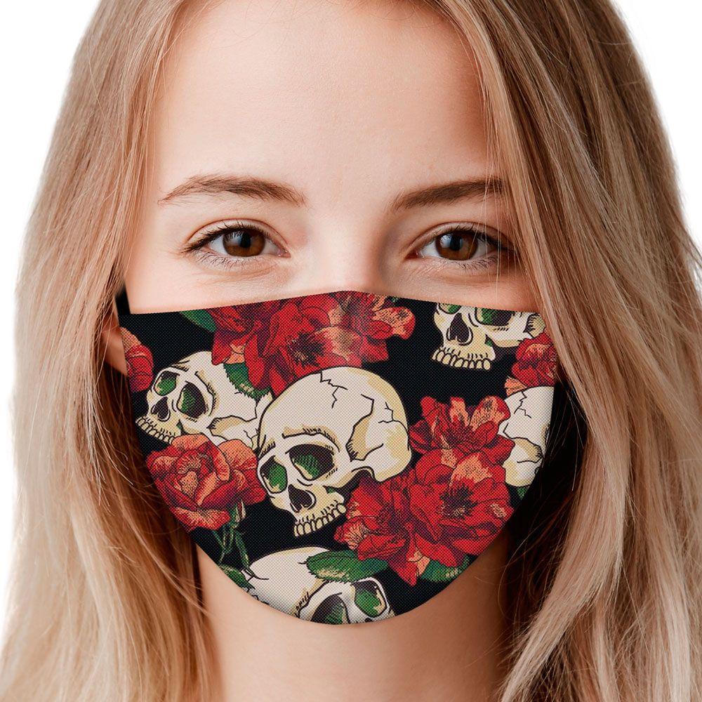 Máscara Caveiras e Flores