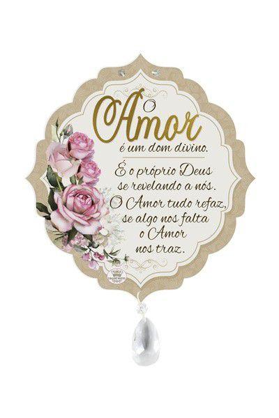 Móbile De Parede Com Aplique Amor Floral Branco