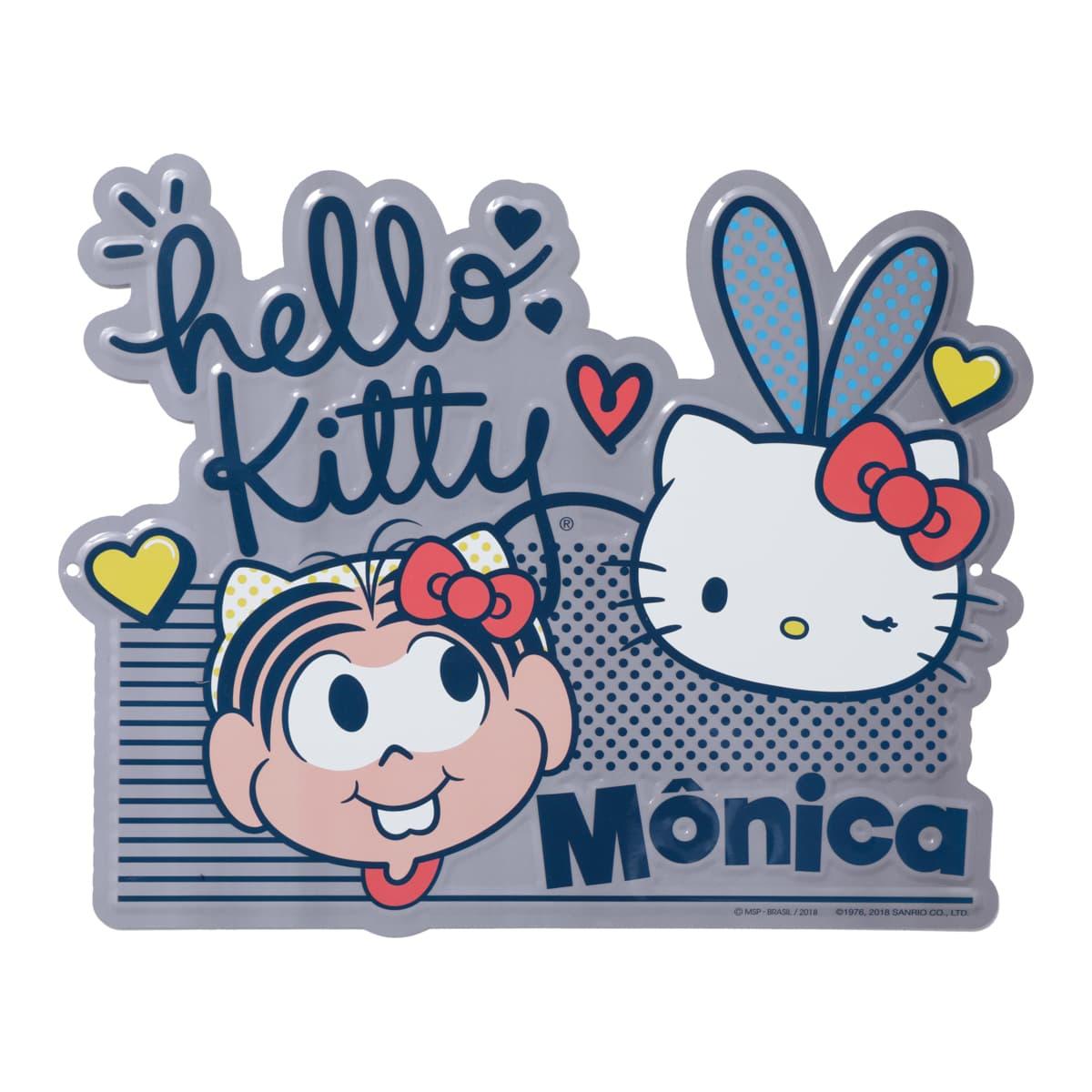 Placa Aluminio - Hello Kitty e Mônica