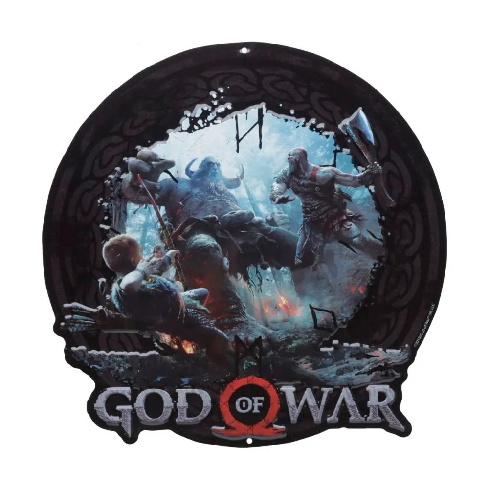 Placa Alumínio - Kratos e Atreus vs Troll