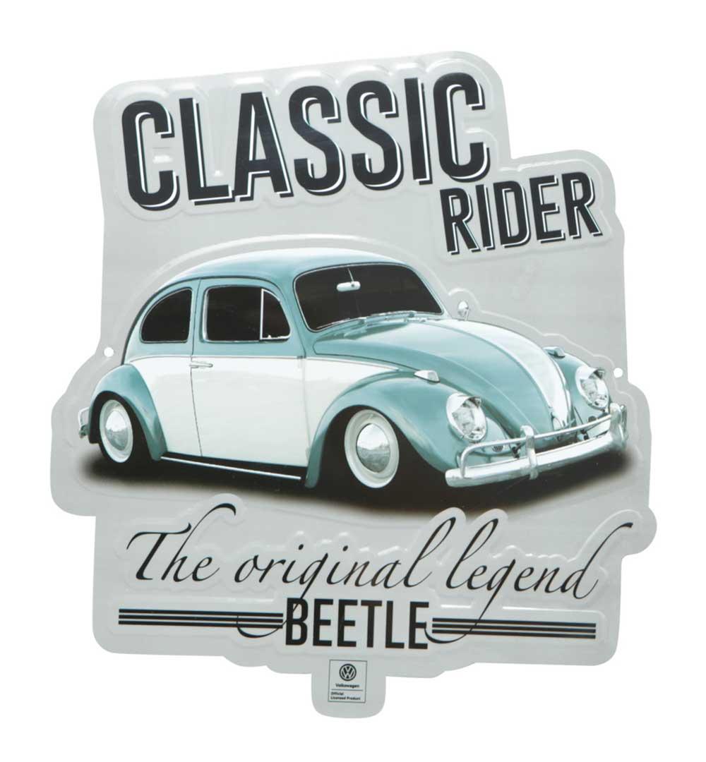 Placa Aluminio Recorte VW Fusca Classic Rider FD Prata