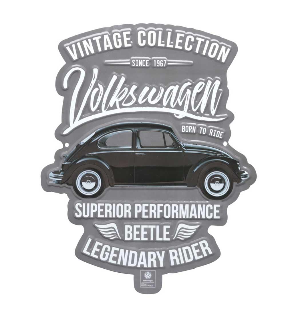 Placa Aluminio Recorte VW Fusca Vintage Collection Prata/Preto