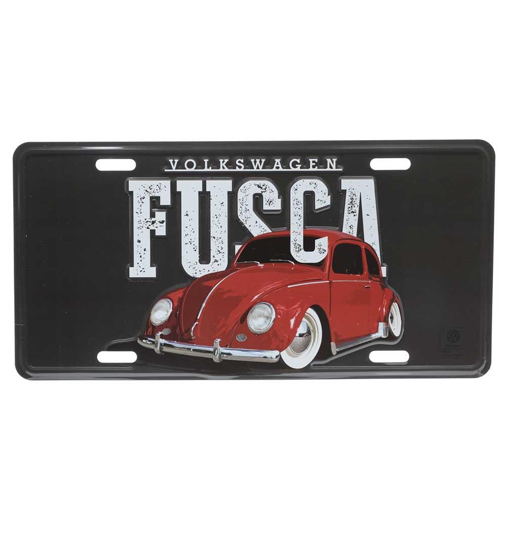 Placa De Carro Aluminio VW Fusca Classic FD Preto