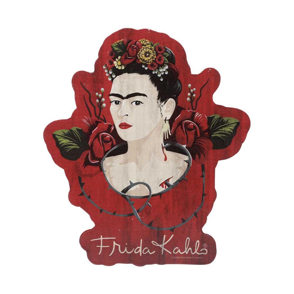 Placa de Madeira - Frida Kahlo | Vermelha