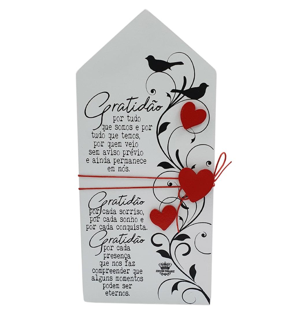 Placa De Mesa Casinha Branca Gratidão