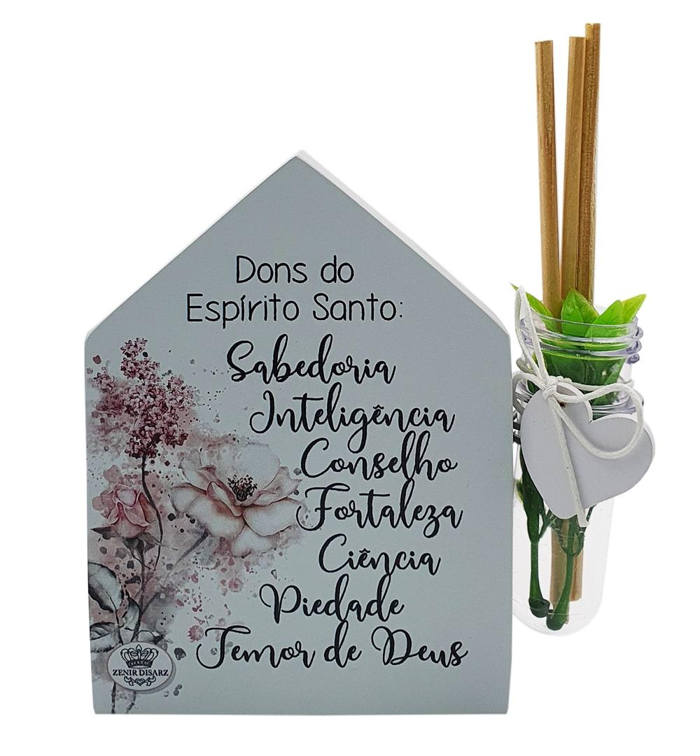 Placa De Mesa Casinha Com Tubete Dons Do Espírito Santo
