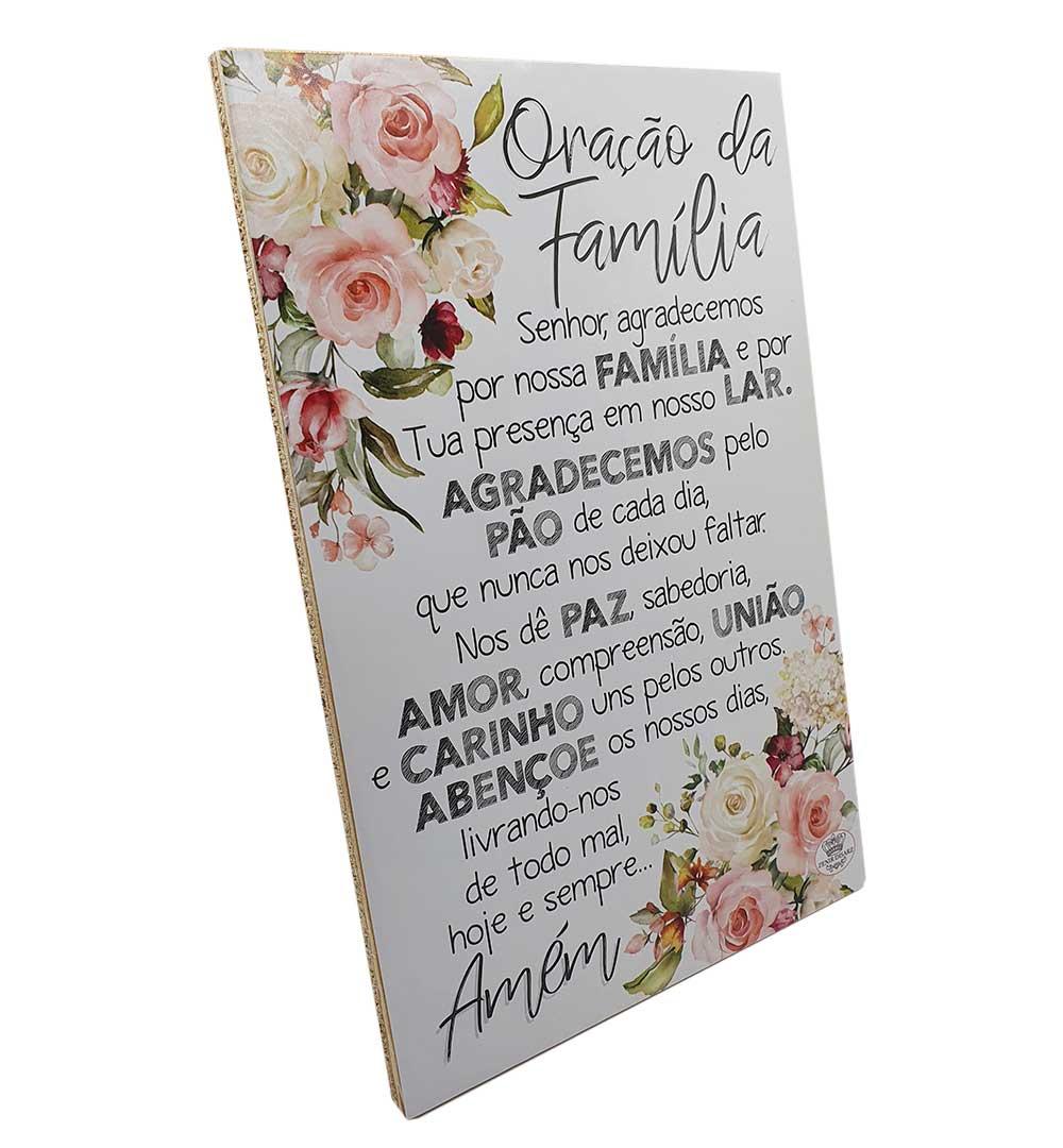 Placa de Mesa Decoupada Oração Da Família