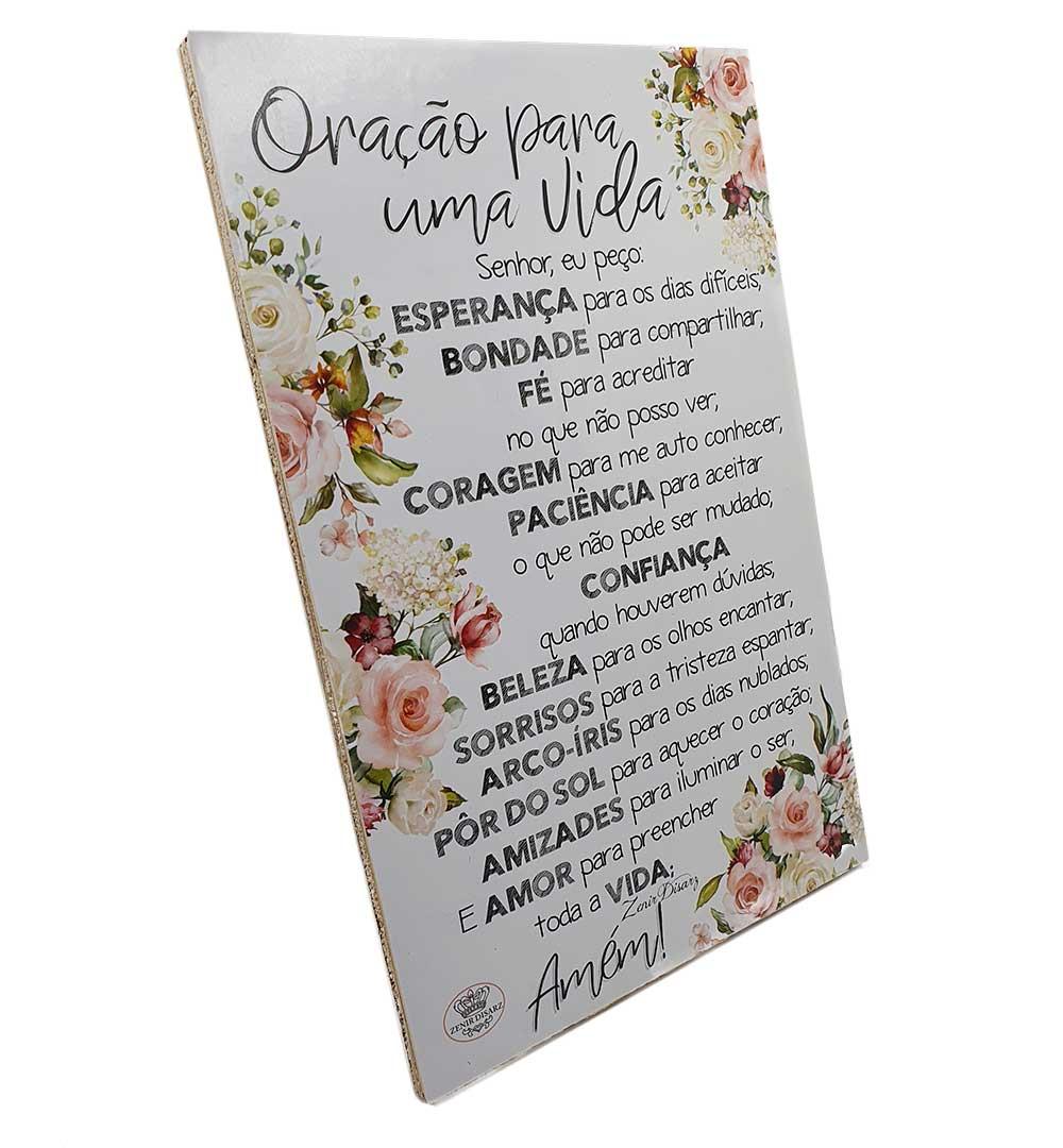Placa de Mesa Decoupada - Oração para uma Vida