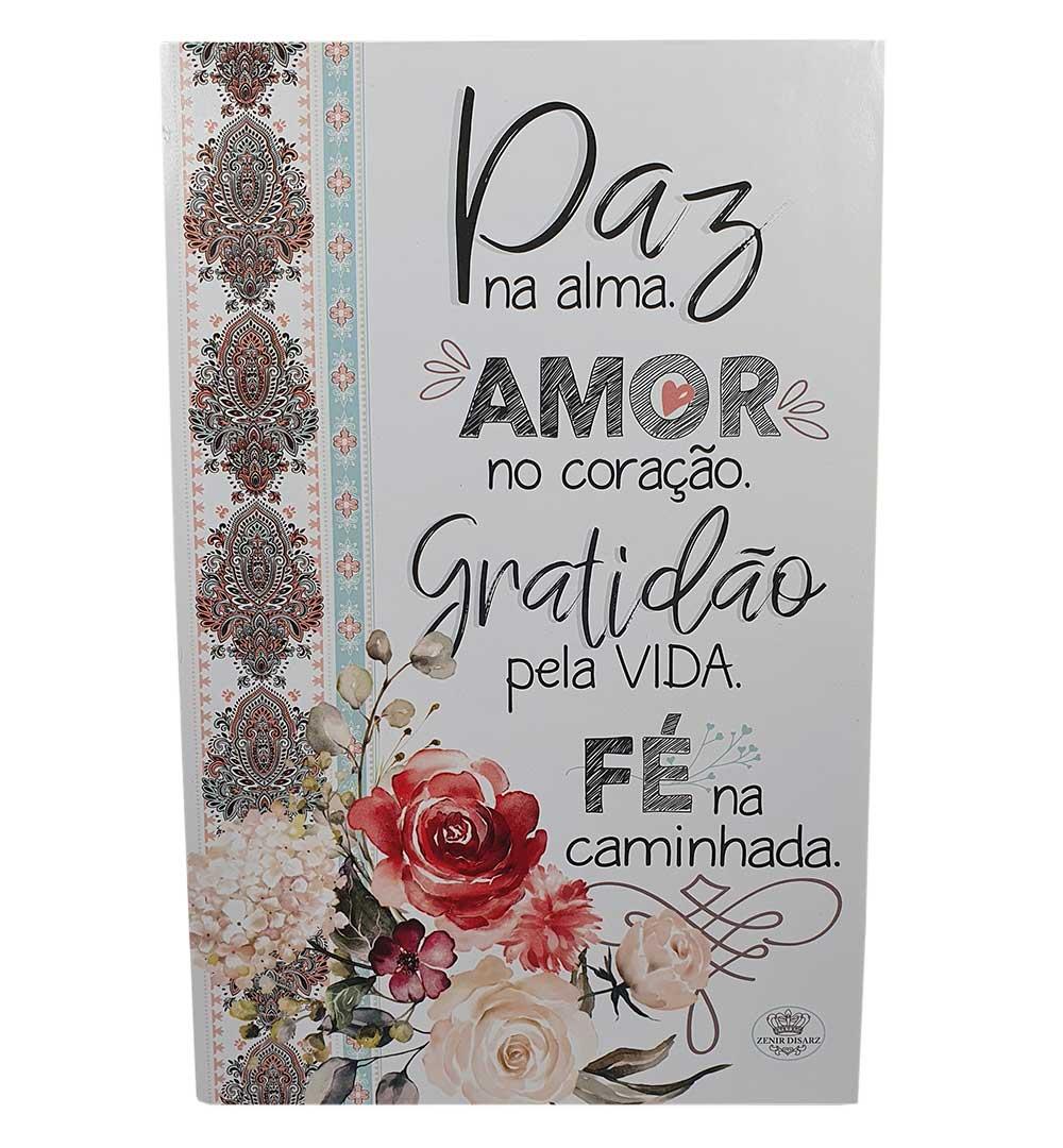 Placa de Mesa Decoupada Paz, Amor, Gratidão, Fé