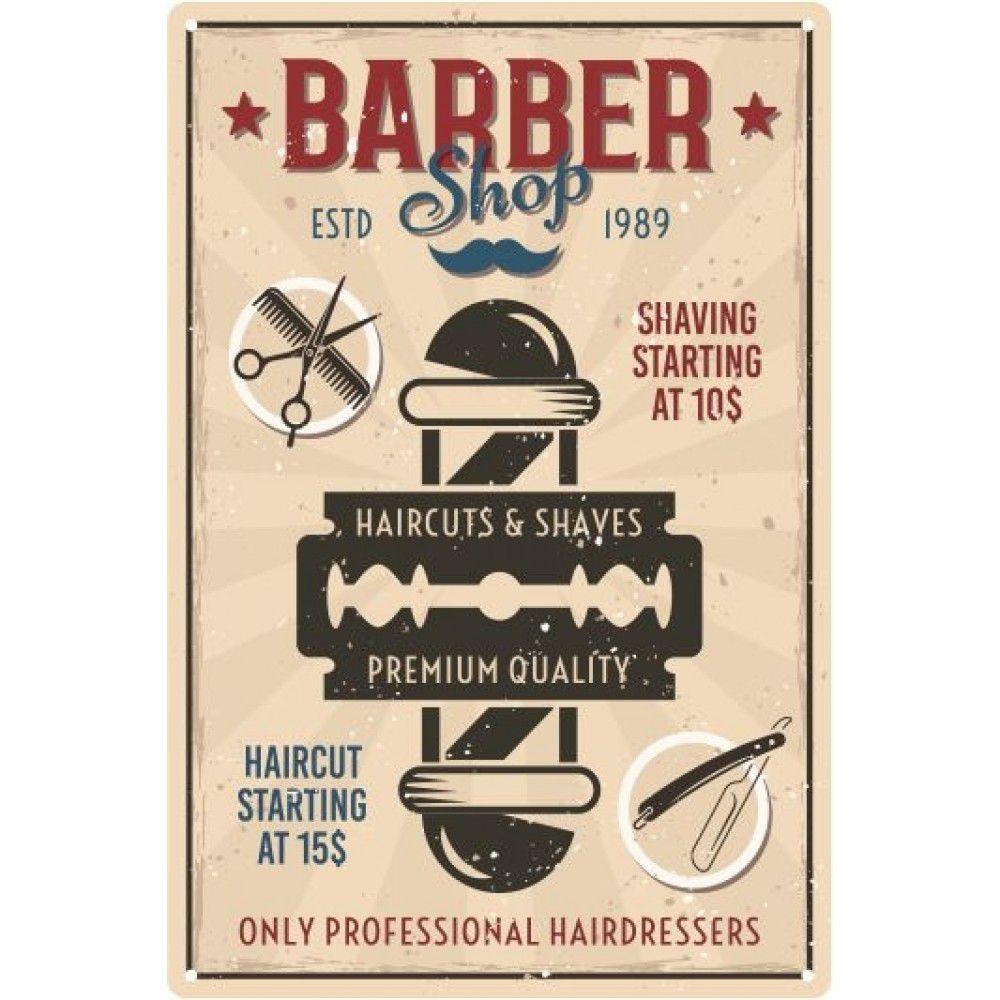 Placa decorativa - Barber Shop