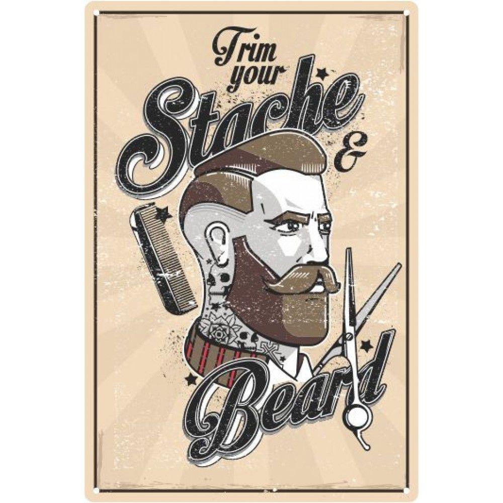 Placa Decorativa - Trim Your Stache & Beard