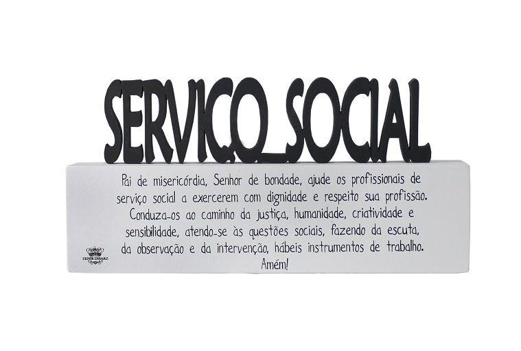 Plaquinha com Oração Profissão Serviço Social