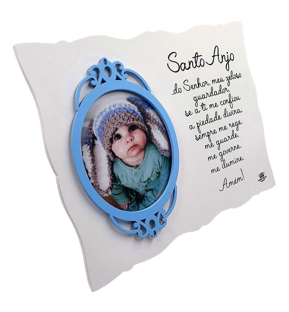 Porta Retrato Com Moldura Santo Anjo Azul