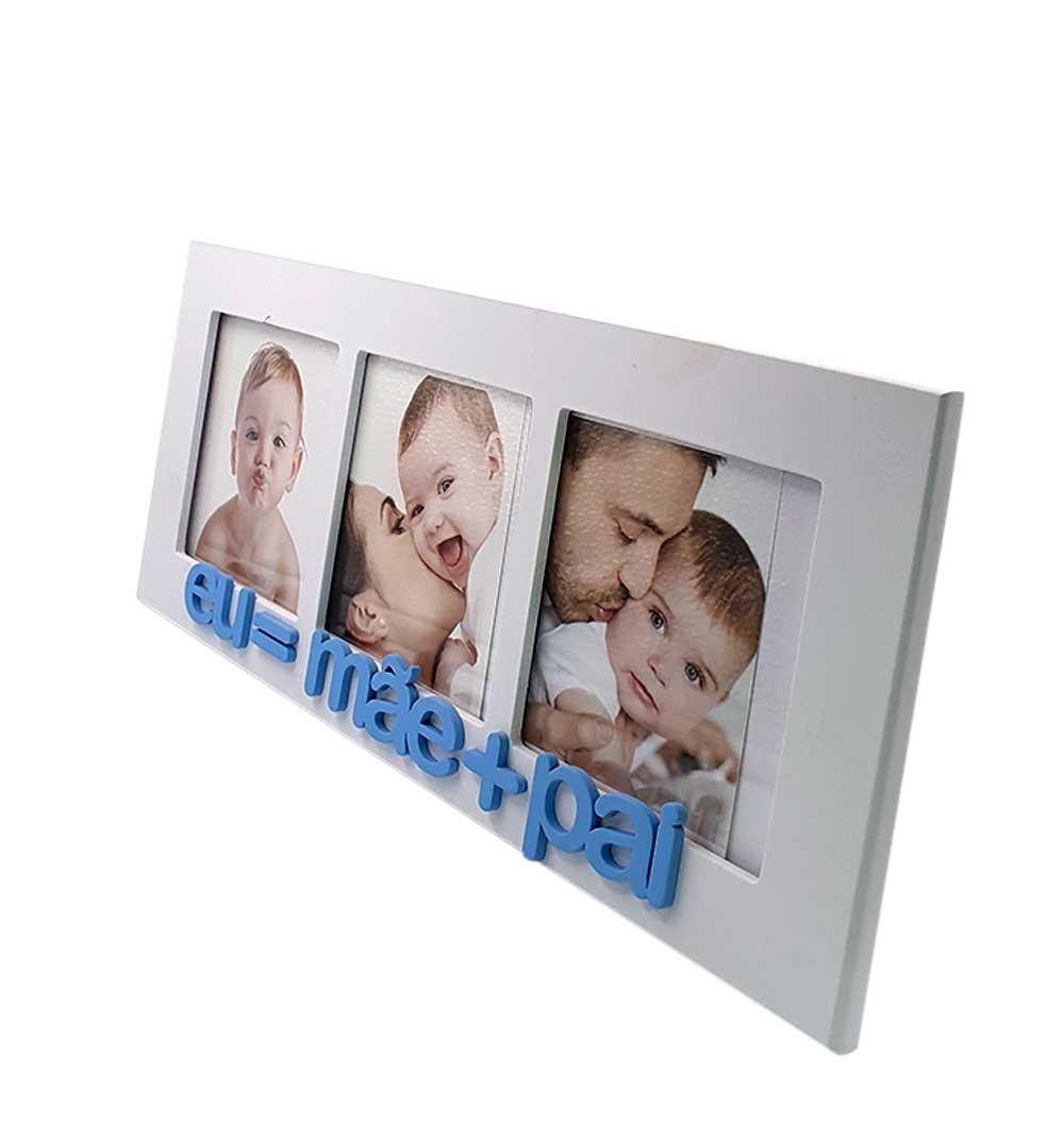 Porta Retrato Eu = Mãe + Pai Azul